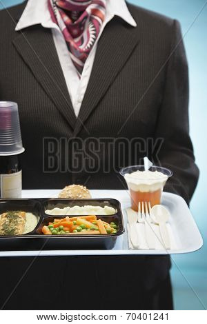 Midsection of stewardess holding tray with airplane food