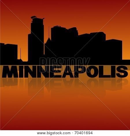 Minneapolis skyline reflected with text and sunset vector illustration