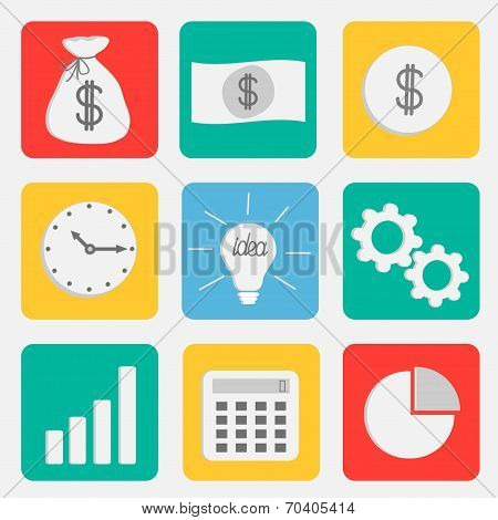 Business Icon Set Flat Design Style. Dollar, Money Bag, Idea Light Bulb, Clock, Wheel, Calculator, C
