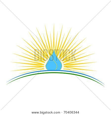 Vector Illustration Of A Water Drop With Sunrise