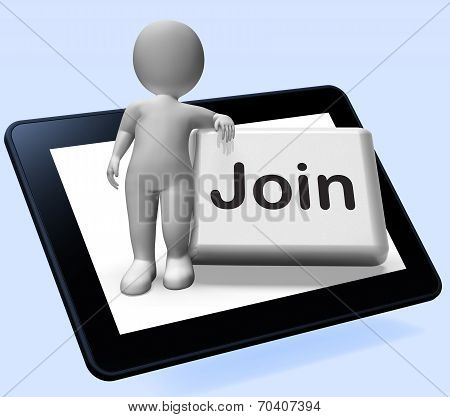 Join Button Tablet Shows Subscribing Membership Or Registration
