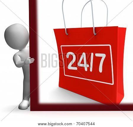 Twenty Four Seven Shopping Sign Shows Open 24/7