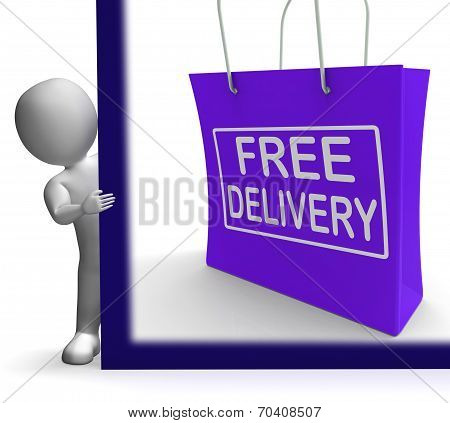 Free Delivery Shopping Sign Showing No Charge Or Gratis To Deliver