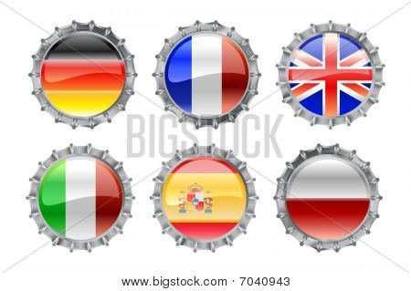 Round Bottle Caps Set-flags