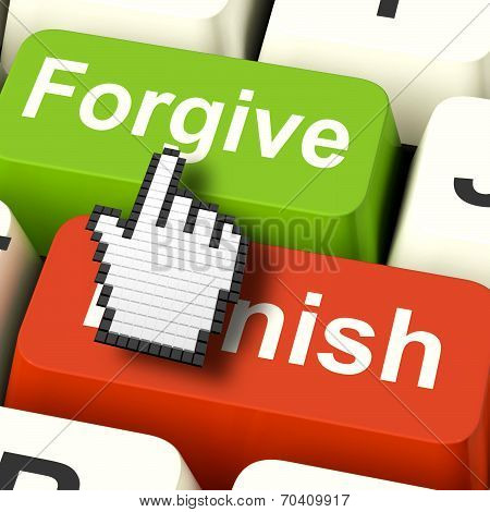 Punish Forgive Computer Shows Punishment Or Forgiveness
