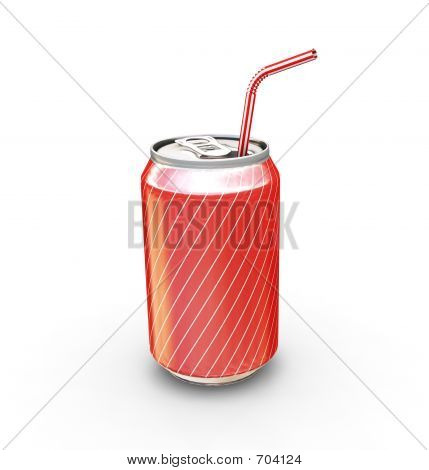 Soda Can With Straw