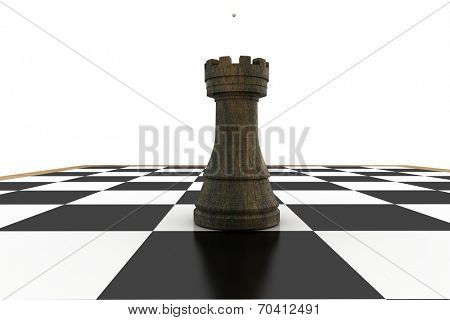 Black bishop on chess board on white background