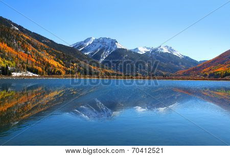 Crystal lake in the middle of San Juan mountains