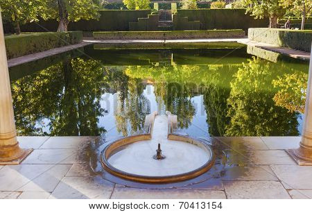 Alhambra Courtyard El Partal Fountain Pool Reflection Granada Andalusia Spain