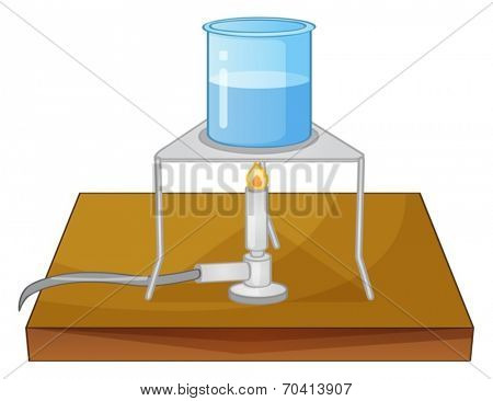 Illustration of a beaker and a burner