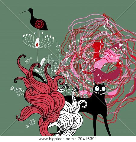 texture of the fun loving beauty cats holiday graphic background