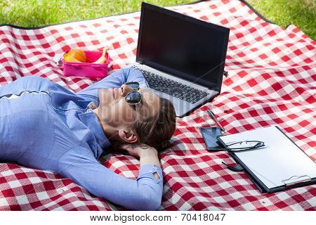 Working Woman Resting In Garden