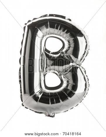 Chrome silver balloon font part of full set upper case letters,B