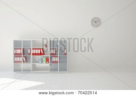 File cabinet with files in business office of financial lawyer