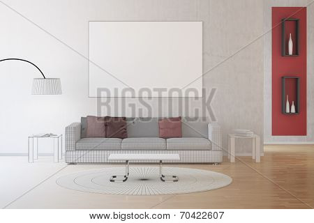 CAD drawing of interior living room transforming into photo