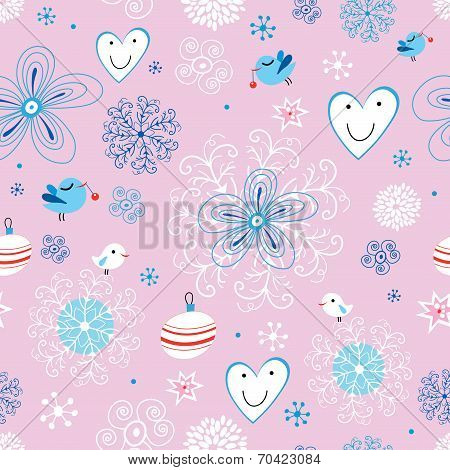 Beautiful holiday design of flowers and birds