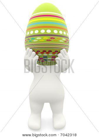 3D Man Carrying An Easter Egg