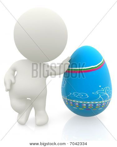 3D Man With An Easter Egg
