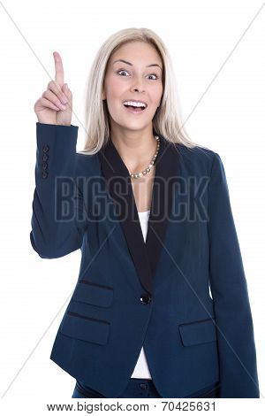 Blond Attractive Business Woman Has An Good Idea Isolated Over White.