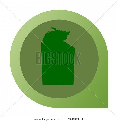 Isolated Northern Territory in Australia map marker pin in flat web design style.