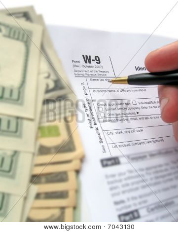 W-9 Revenue Tax Form Filling By Pen