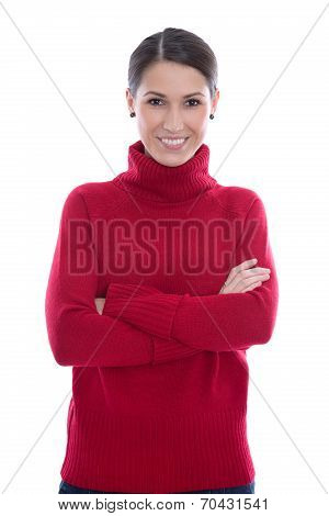 Happy Young Isolated Woman In A Red Wool Pullover.