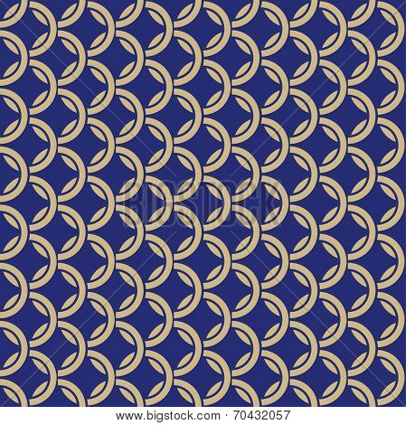 Vector Blue Background With Rings. Seamless Hauberk