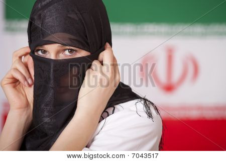 Muslim Woman Over Iran Flag