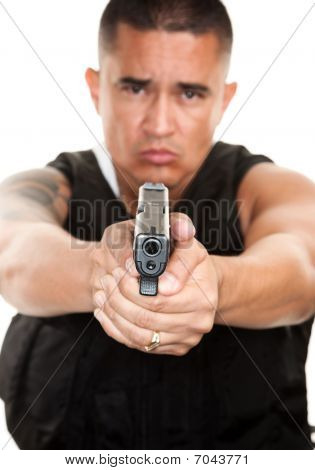 Hispanic Cop With Pistol