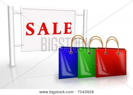 Bags Near A Placard Sale