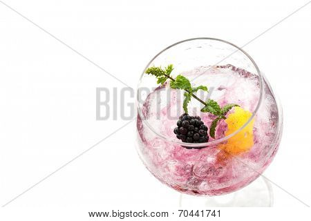 blackberry cocktail drink isolated on white