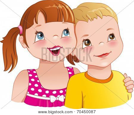 Little girl hugging a boy - cute kids looking up, smiling happily, having fun together. Vector illustration