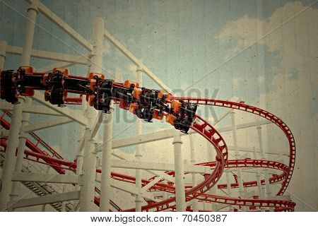 Old Textured Paper Box Of Roller Coaster.