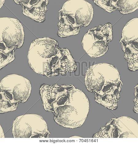 skull. seamless background. hand drawn. vector eps8