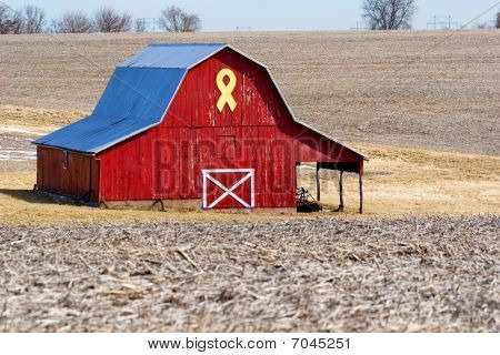 Red Barn With Yellow Ribbon