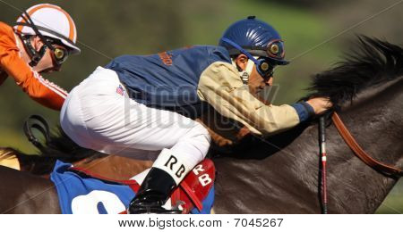 Extreme Close Up Of Racing Jockey