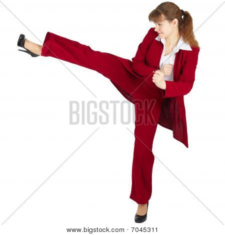 Beautiful Girl In Business Suit Kicks