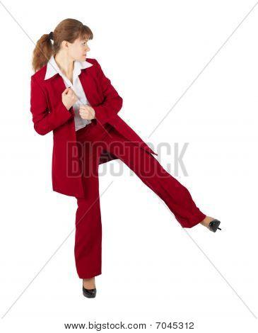 Beautiful Girl In Business Suit Kicks