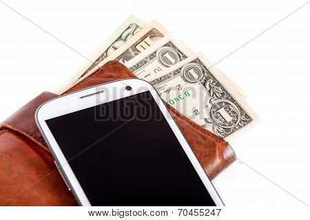 Cellphone And Money On White