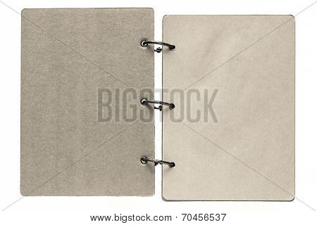 Isolated Notebook With Pages Beige Gray Color