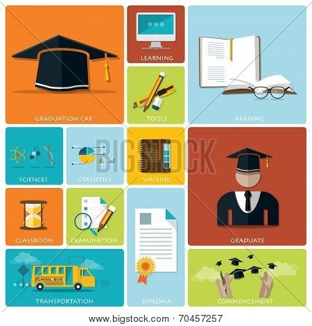 Education And Graduation Flat Icon Set