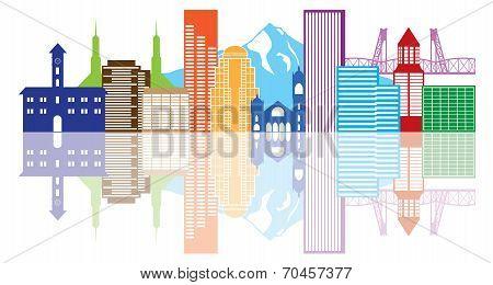 Portland Oregon Skyline Color Illustration