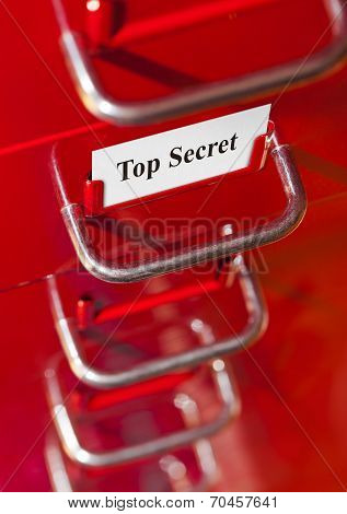 Red File Cabinet With Card Top Secret