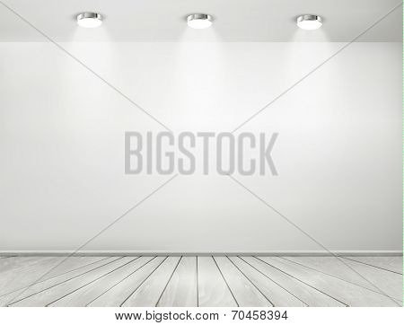 Grey room spotlights and wooden floor. Showroom concept. Vector.