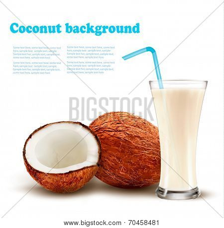 Coconut with a coconut milk cocktail. Vector.