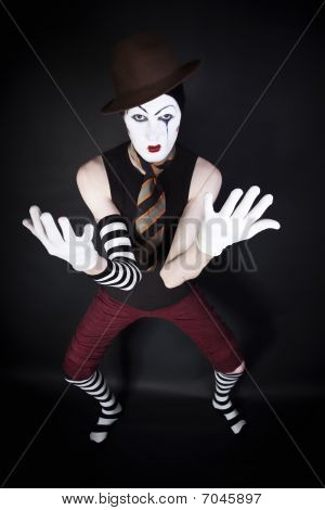 Mime In Hat, Tie And White Gloves
