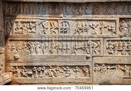 Indian Ancient Basrelief In Hampi