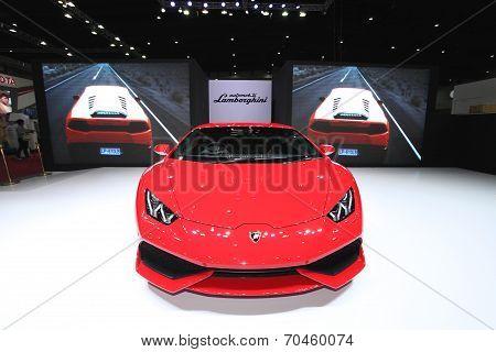 Bangkok - August 19: Red Lamborghini Car On Display At Big Motor Sale On August, 2014 In Bangkok, Th