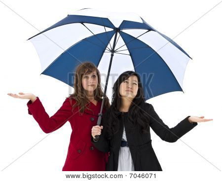 Young women Expecting Bad Weather
