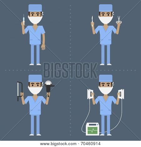 Surgeon holds medical supplies in various poses